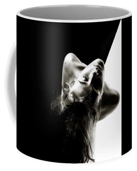 Black-white-split-seamless Coffee Mug featuring the photograph The Terminator Project by Rikk Flohr