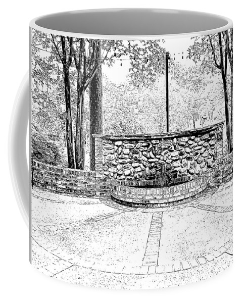 Photograph Coffee Mug featuring the digital art The Terrace In Black And White by Marian Bell