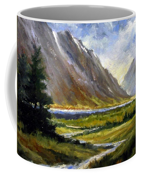 Mountains Coffee Mug featuring the painting The Tetons 05 by Jim Gola