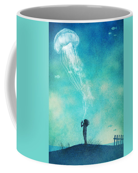 Jellyfish Coffee Mug featuring the drawing The Thing About Jellyfish by Eric Fan