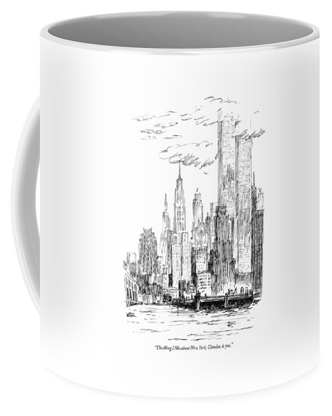 Nyc Coffee Mug featuring the drawing The Thing I Like About New York by Robert Weber