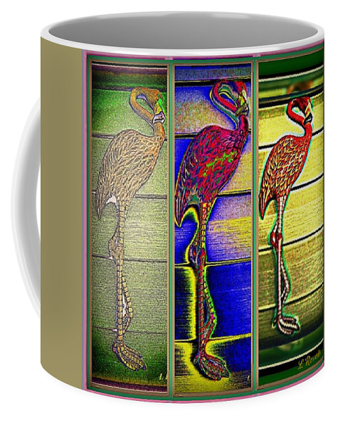 Flamingo Coffee Mug featuring the photograph The Three Flamingos by Leslie Revels