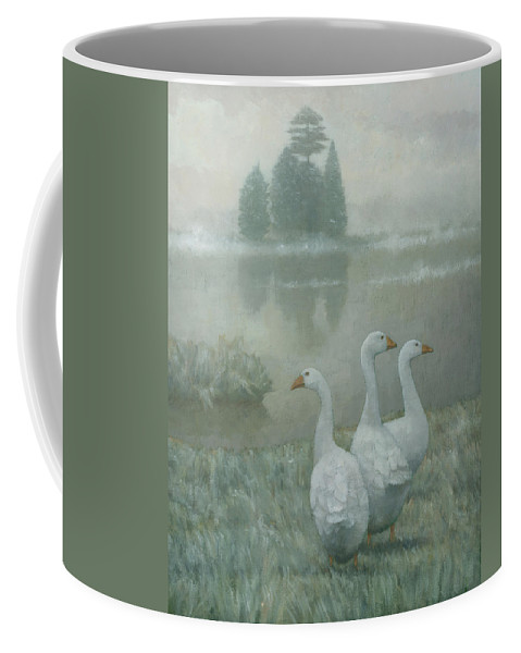 Country Coffee Mug featuring the painting The Three Geese by Steve Mitchell