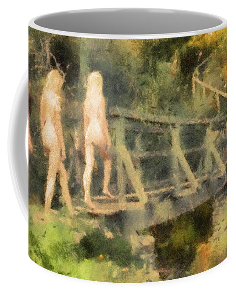 Burlesque Coffee Mug featuring the painting The Three Nymphs By Mary Bassett by Mary Bassett