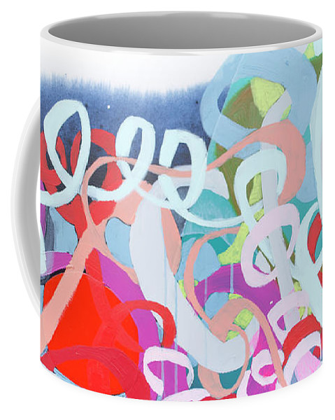 Abstract Coffee Mug featuring the painting The Thrill Of It All by Claire Desjardins