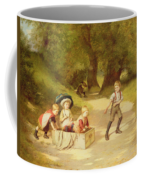 The Coffee Mug featuring the painting The Toy Carriage by Harry Brooker