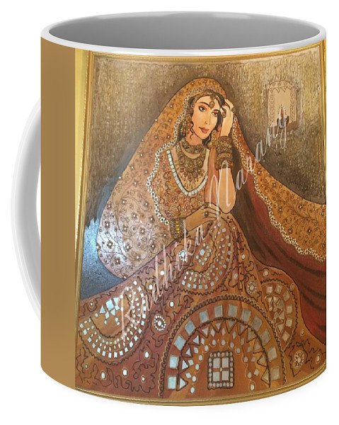 Indian Tradition Coffee Mug featuring the painting The Traditional Lady by Radhika Narang
