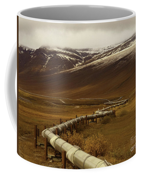 The Trans Alaska Pipeline Coffee Mug featuring the photograph The Trans Alaska Pipeline by Teresa A and Preston S Cole Photography