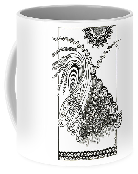 Black Coffee Mug featuring the drawing The Traveler by Jessica Mahan