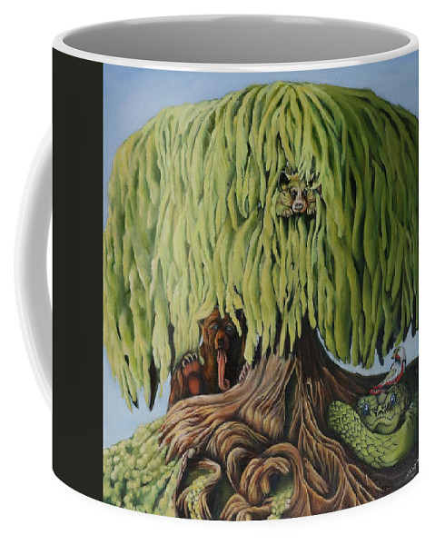 Tree Bear Bird Snake Green Paradise Coffee Mug featuring the painting The Tree by Becky Mayanais