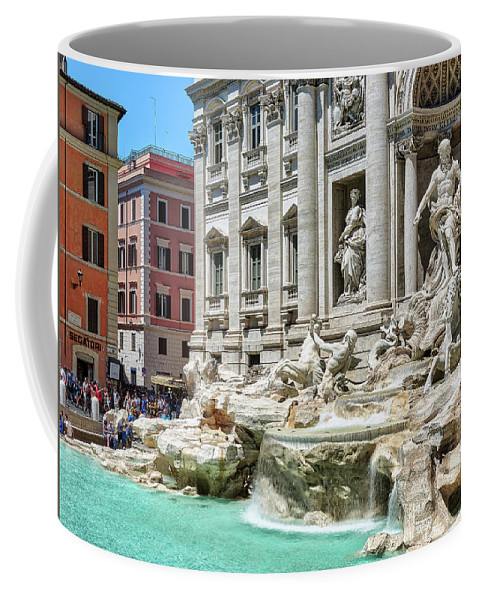 Ancient Coffee Mug featuring the photograph The Trevi Fountain In The City Of Rome by Eduardo Jose Accorinti