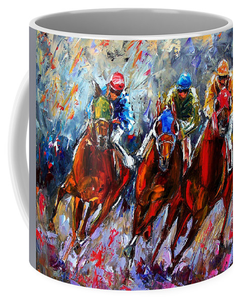 Horses Coffee Mug featuring the painting The Turn 2 by Debra Hurd