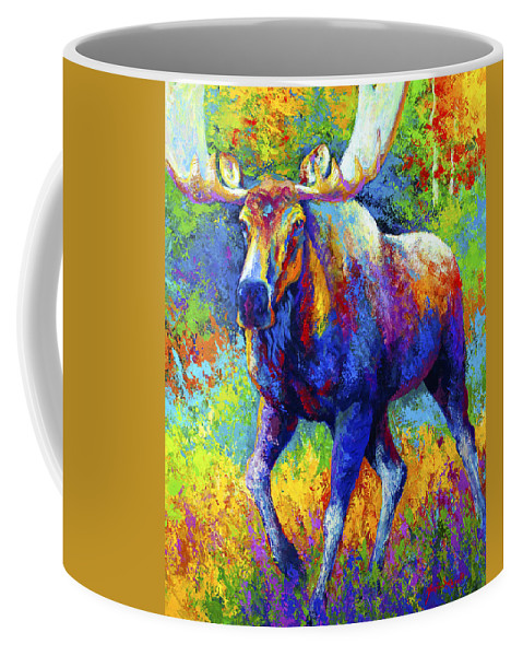 Moose Coffee Mug featuring the painting The Urge To Merge - Bull Moose by Marion Rose