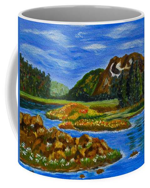Mountain Landscape Painting Coffee Mug featuring the painting The Valley by Kathy Symonds