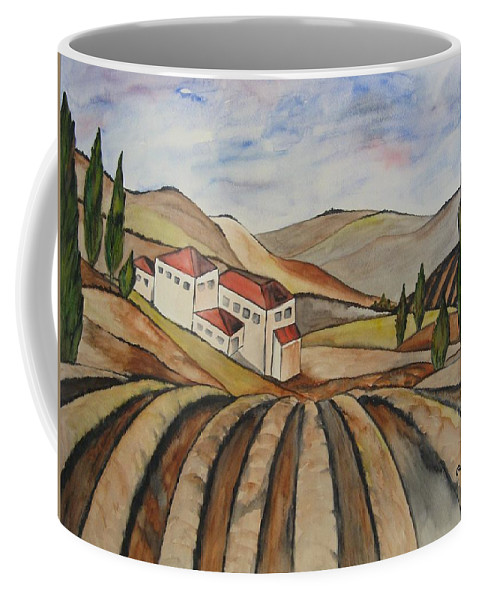 Watercolor Coffee Mug featuring the painting The Valley Of Jesrael by Guri Stark