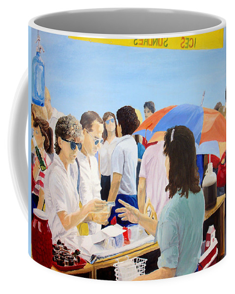 People Coffee Mug featuring the painting The Vendor by Steve Karol