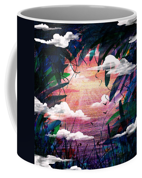 Abstract Coffee Mug featuring the digital art The View From Up Here by Rachel Christine Nowicki
