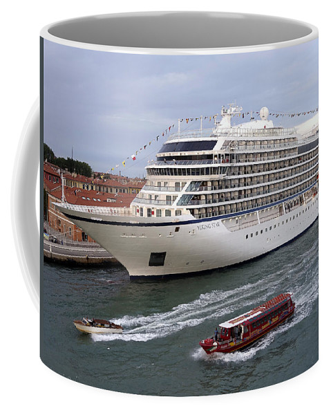 Viking Cruise Line Coffee Mug featuring the photograph The Viking Star Cruise Liner In Venice Italy by Richard Rosenshein