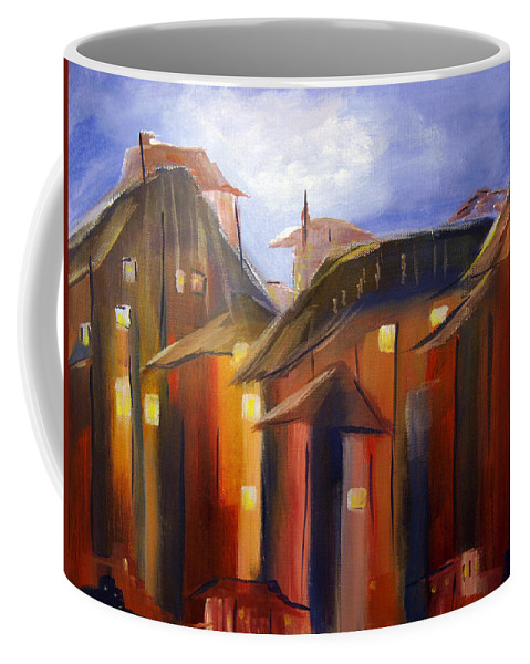Village Coffee Mug featuring the painting The Village by Donna Blackhall
