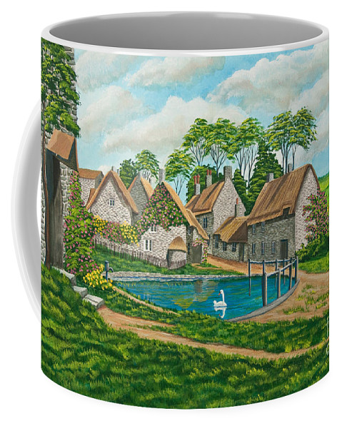 English Painting Coffee Mug featuring the painting The Village Pond In Wroxton by Charlotte Blanchard