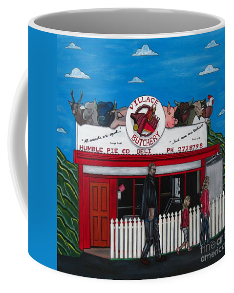 Buildings Coffee Mug featuring the painting The Village by Sandra Marie Adams