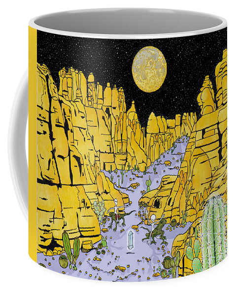 Aliens Coffee Mug featuring the painting The Vision by Alan Morrison