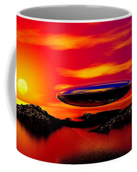 T Coffee Mug featuring the digital art The Visitor by David Lane