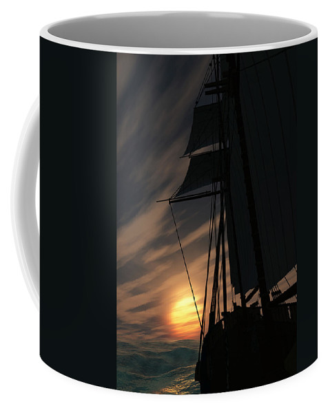 Ships Coffee Mug featuring the digital art The Voyage Home by Richard Rizzo