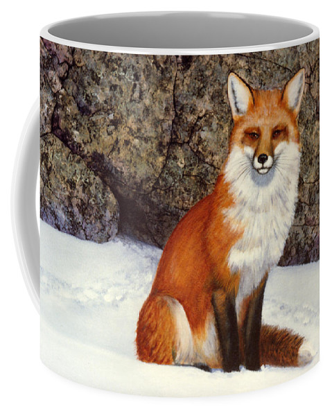 Wildlife Coffee Mug featuring the painting The Wait Red Fox by Frank Wilson