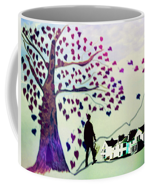 Coffee Mug featuring the drawing The Walk by Cathy Anderson