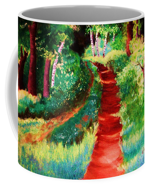 Trail Coffee Mug featuring the painting The Walking Trail by Emily Michaud