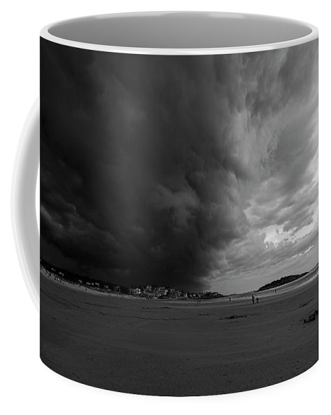 Gloucester Coffee Mug featuring the photograph The Wall Of The Storm Good Harbor Beach Gloucester Ma Black And White by Toby McGuire