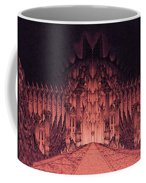 Barad Dur Coffee Mug featuring the drawing The Walls Of Barad Dur by Curtiss Shaffer