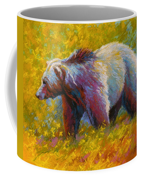 Western Coffee Mug featuring the painting The Wandering One - Grizzly Bear by Marion Rose