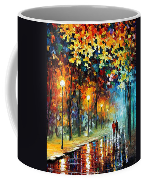 Afremov Coffee Mug featuring the painting The Warmth Of Friends by Leonid Afremov