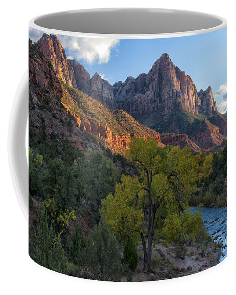 Hdr Coffee Mug featuring the photograph The Watchman And Virgin River by Sandra Bronstein
