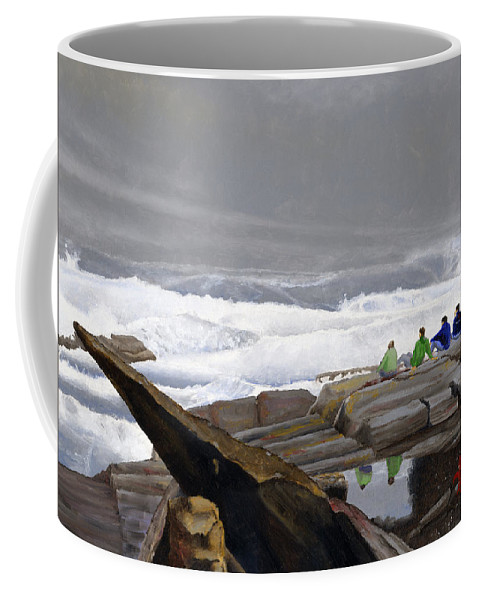 Waves Coffee Mug featuring the painting The Wave Watchers by Dominic White