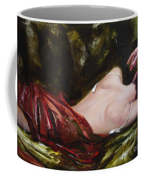 Art Coffee Mug featuring the painting The Weariness by Sergey Ignatenko
