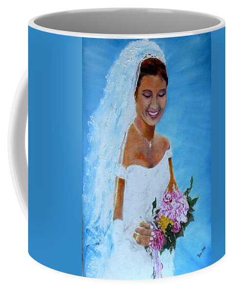 Wedding Coffee Mug featuring the painting the wedding day of my daughter Daniela by Helmut Rottler