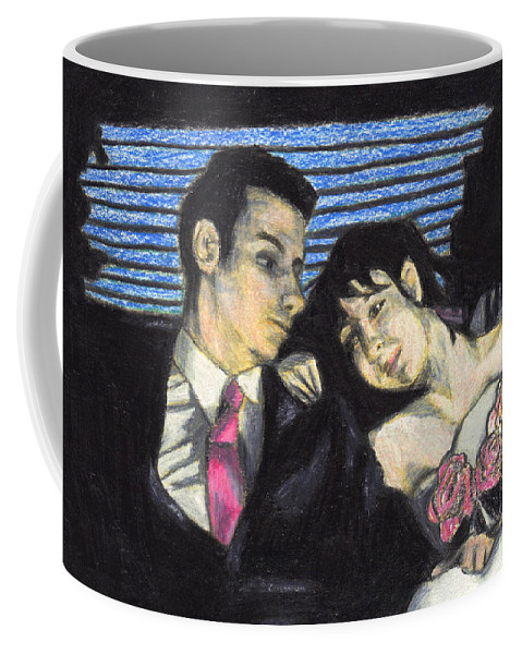 Couple Coffee Mug featuring the drawing The Wedding Gift by Jean Haynes