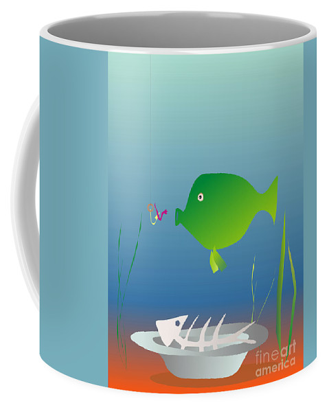 Fish Coffee Mug featuring the digital art The Well-fed Do Not Understand The Hungry by Michal Boubin