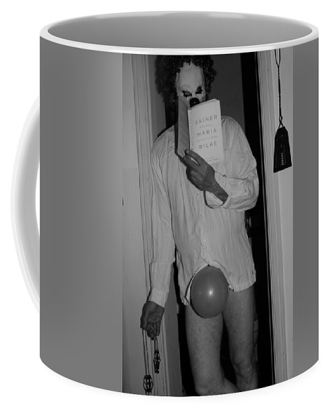Black And White Photography Coffee Mug featuring the photograph The Well Read Clown by Kirk Griffith