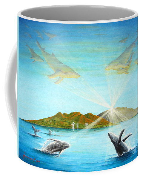 Whales Coffee Mug featuring the painting The Whales Of Maui by Jerome Stumphauzer