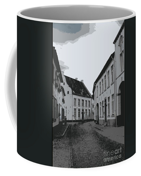 Gray And White Coffee Mug featuring the photograph The White Village - Digital by Carol Groenen