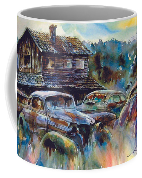 Old Rusty Dilapidated Cars House Coffee Mug featuring the painting The Wide Spread by Ron Morrison