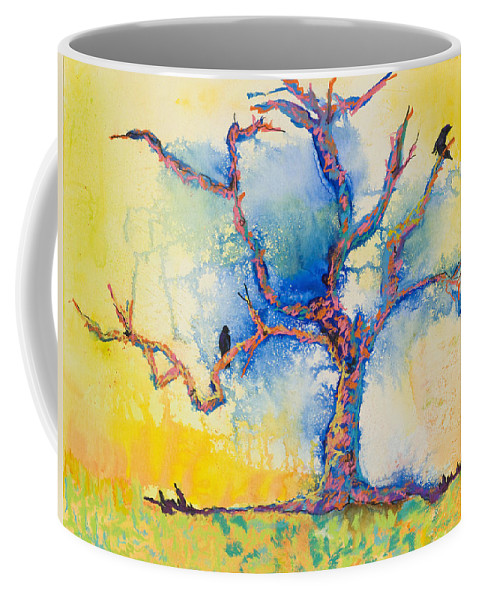Abstract Painting Coffee Mug featuring the mixed media The Wind Riders by Pat Saunders-White