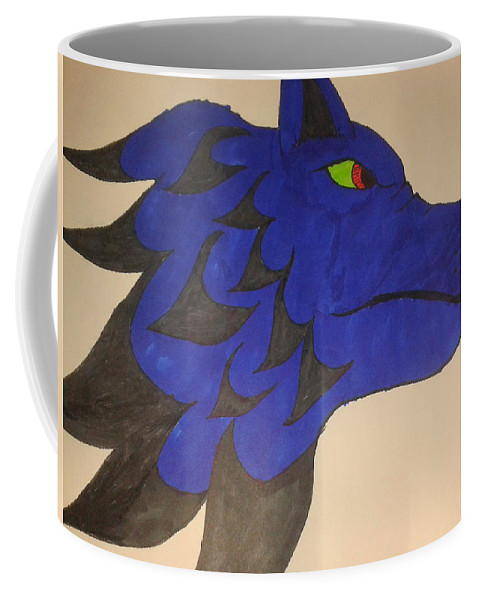 Blue Coffee Mug featuring the drawing The Wolf by By Alun J