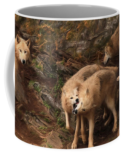 Wolves Coffee Mug featuring the photograph The Wolf Pack by Lori Deiter