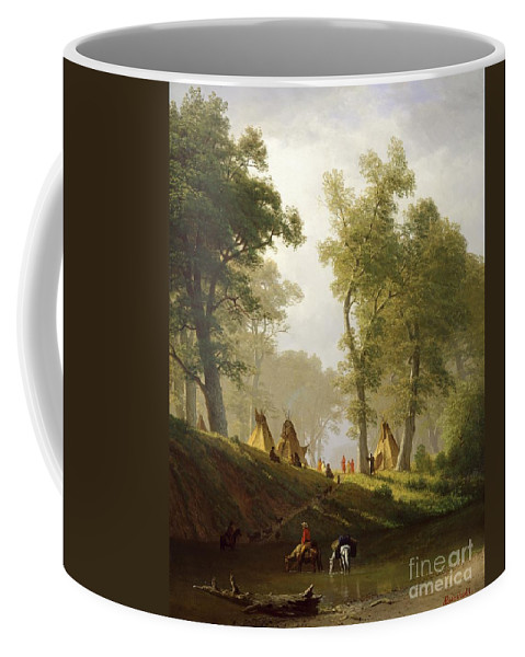 The Coffee Mug featuring the painting The Wolf River - Kansas by Albert Bierstadt