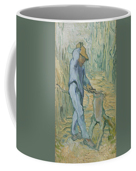 Art Coffee Mug featuring the painting The Woodcutter After Millet Saint Remy De Provence September 1889 Vincent Van Gogh 1853 1890 by Artistic Panda